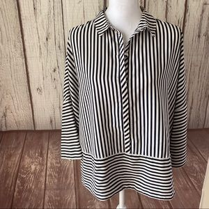 Adrianna Papell black striped blouse size med